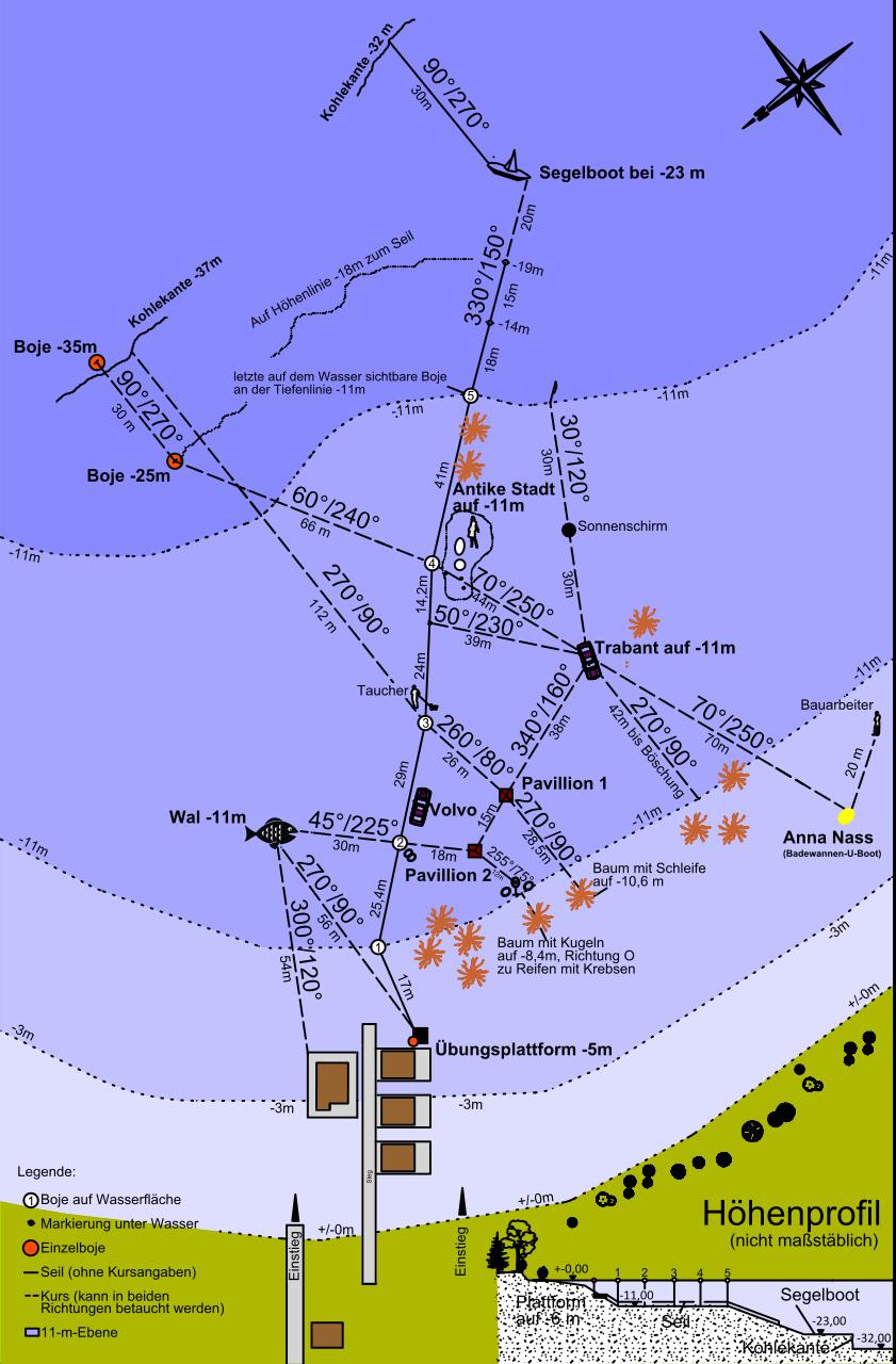 Tauchplatzkarte mit Tauchspots im Gräbendorfer See